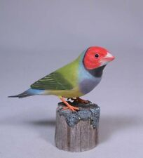 Gouldian Finch (Red Head) Original Bird Carving/Birdhug