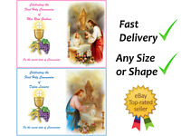 First Holy communion boy girl cake topper edible A4 A3 Icing Wafer Rectangle