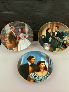 3 x Gone with the Wind The Paris Hat Collectors Plates 21.5 cm Wide W J George