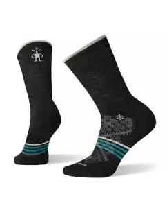 Smartwool Women's Performance Run Light Elite Crew Socks Large Merino Wool Black