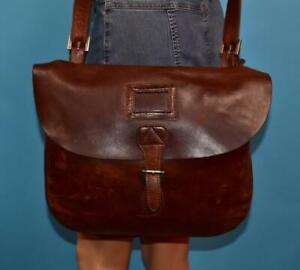 Vtg BOY LONDON Brown Leather Rugged Messenger Satchel Crossbody Bag Case