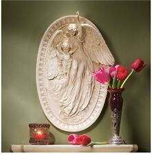 Magnificent Guardian Angel & Young Cherub Wall Sculpture Bas Relief NEW