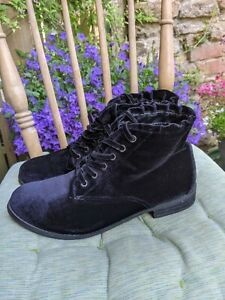 Velvet 6 Black Ankle Boots Steampunk Lace Vintage Style Velour Dorothy Perkins