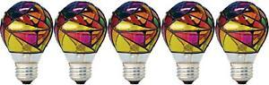 GE Incandescent Stained Glass Light Bulbs, A19 Light Bulbs, 25-Watt, Medium