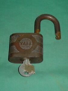 Vintage Yale Padlock Early Brass with Key Heavy Duty Works Fine