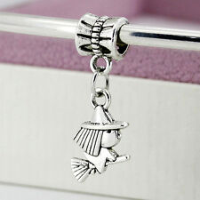 Antique Silver Flying Witch Drop Charm Bead European Charm Bracelets