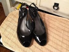 Cole Haan Nike Air Open Toe Sling Back Patent leather  Heels Size 8B -EUC