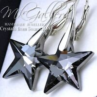 925 Sterling Silver Earrings STAR - Silver Night 20mm Crystals from Swarovski®