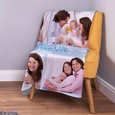 Large Warm Sofa Fleece Personalised Blue Gingham 4 Photo Custom Fleece Blanket