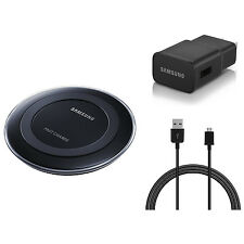 Samsung OEM Original Wireless Qi Fast Charging Pad, Cable & Wall Adapter - Black