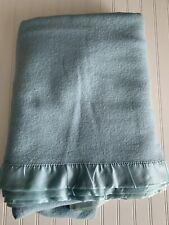 Vintage Faribo Wool Blanket w Satin Trim Light Blue F/Q 84 x 86