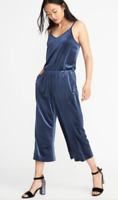 Old NAVY Wide LEG Stretch VELVET Jumpsuit JUMPER Romper POCKETS S M XL 2XL NWT