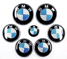 7x BMW BLAU CARBON Felgendeckel Lenkrademblem Motorhaube Kofferaum Emblem Logo