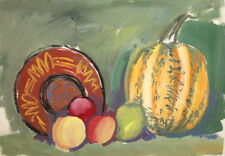 ANTIQUE GOUACHE PAINTING STILL LIFE WITH FRUITS