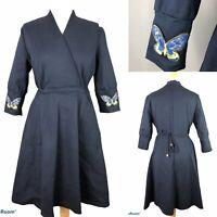 LIAO JIA REN Womens Navy Blue Wrap Over Dress with Butterflies Size XXL 175/96A