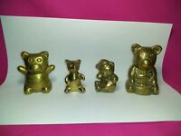 Lot of 4 Vintage Brass Animals -Bears