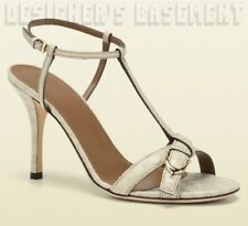 GUCCI ivory 38.5 Micro GUCCISSIMA Leather NICE SPUR buckle sandals NIB Authentic