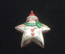Snowman Star Christmas Silver Tone Pin Brooch Pendant
