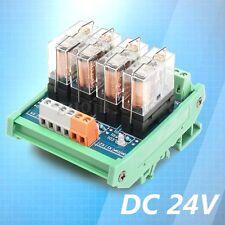 DC 24V Relay DIN Rail Mount 4 SPDT 10A Power Relay Interface Module 9x7x6cm