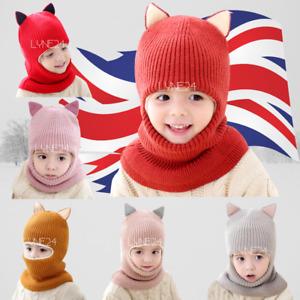Toddler Winter Baby Kids Warm Hat Girls Boys Hooded Scarf Beanie Caps Cat Ears