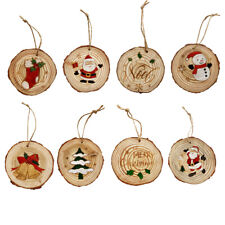 Wooden Hanging Snowmen & Santa Christmas Tree Ornaments Solid Wood Slice Decor