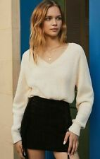 New Urban Outfitters Cozy Chenille V-Neck Jumper, Ivory, Medium, RRP £46