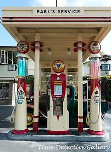 Vintage Pumps at Gilmore Gas Station, Los Angeles, California-Giclee Photo Print