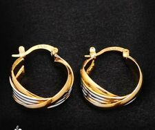 Quality yellow and white gold plated Twisted small hoop earrings