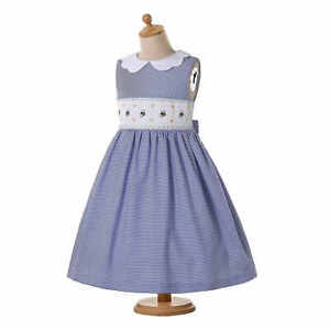 Embroidery Girl Smocked Dress Communion Party Dresses Striped Sleeveless Blue US