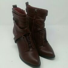 Catherine Malandrino Burgundy Red Faux Leather Ankle Boots Booties Shoes, Size 9