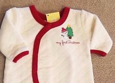 NEW! GYMBOREE NEWBORN QUILTED MY FIRST CHRISTMAS FOOTED OUTFIT ADORABLE REBORN