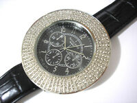 Silver Metal Big Case Leather Band Techno King Men's Watch w Crystals # 4373