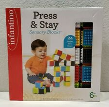Press Stay Sensory Blocks Baby Learning Toys Infant Toddler High Contrast Colors