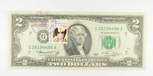 First Day Issue 1976 $2 Federal Reserve Note - Stamped! *752