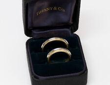 Tiffany & Co. Platinum 18K Yellow Gold Double Milgrain Wedding Band Ring Set