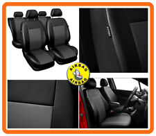 CAR SEAT COVERS full set fit Nissan Micra Eco-leather Black/Grey