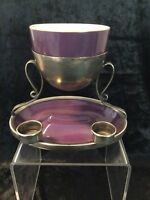 RARE ROYAL WORCESTER BOWL WITH SILVER PLATED STAND.