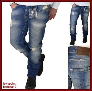 fred mello Jeans denim uomo slim fit strappati stretti vita bassa 44 46 dritto