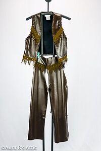 Cowboy Chaps & Vest Child Sz Brown Vinyl Fringed Western Gun Slinger Costume