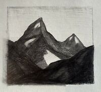 Grand Teton Mountains Western National Park Landscape Tonalist Drawing Graphite