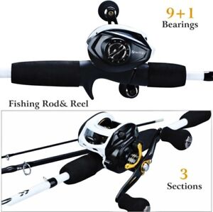 Fishing Rod Reel Combo Portable 3 Sections 175CM Lure Fishing Rod Bait Casting