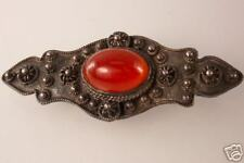 Carnelian Bar Pin Vintage Antique Sterling Silver