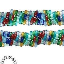 "GLASS BEADS RONDELLE DONUT 6-8mm MULTI COLOR CARNIVAL MIX 16"" strand SALE"