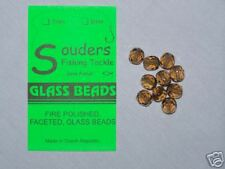 8mm Round, Faceted, Fire Polished Glass Beads - Brown