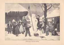 Schulkinder bauen Schneemann Schweiz HOLZSTICH um 1880