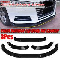 For Audi A4 Sedan 2017-2018 Glossy Front Bumper Lip Body Spoiler Splitter 3PCS