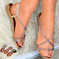 Ladies Flat Summer Sandals Open Toe Slingback Beach Wedding Holiday Shoes Size
