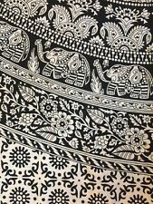 "Indian Print Mandala Tapestry Hippie Festival Hanging Black & White 93"" X 80"""