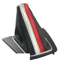 Italian Leather SHIFT BOOT Gaiter BLACK WHITE RED 2001 - 2005 for Audi A4 S4 B6