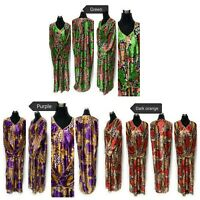 Women Satin Long Sleeves Maxi Dress Multifloral Abaya Robe Luxury Kaftan Tunic